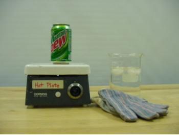 A soda can, a hot plate, a beaker of ice water, and a pair of gloves