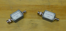 A high-pass and low-pass filter rest on a lecture bench