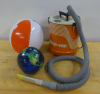 Air pump, beach ball, and inflatable globe