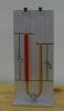A manometer containing both water and kerosene