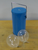A dewar of liquid nitrogen and 2 helium balloons