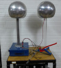 A lightning rod attached to a Van de Graaff and discharge ball